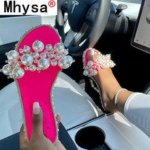 2021 Pearl Slippers Women Summer Sandals 2021 Fashion Bling Female Candy Color Beach Diamond Slippers Flat Shoes Outdoor Sandals