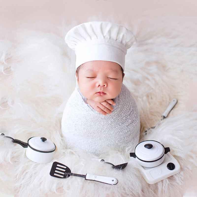 Rekwizyty fotograficzne dla dzieci mała czapka szefa kuchni biała folia stretch Little Cook kreatywne rekwizyty akcesoria do noworodkowych sesji fotograficznych 72XC