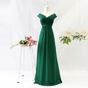 Image 5 - נשים קיץ שמלה בתוספת גודל אלגנטי קו V צוואר כבוי כתף ארוך שיפון אפליקציות תחרה המפלגה שמלת 2020 Vestidos robe Femme
