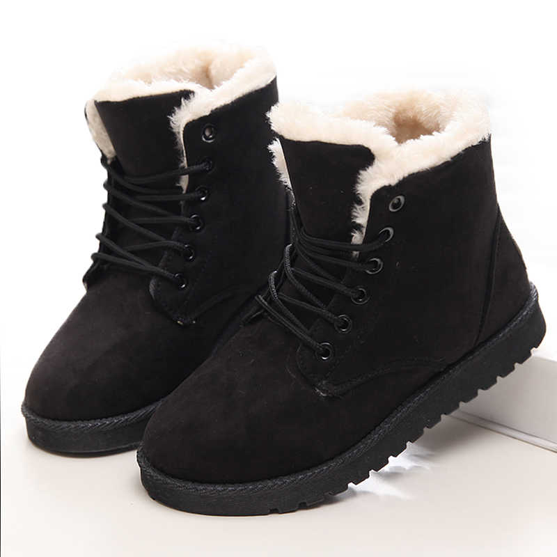 Women Boots Winter Warm Snow Boots Women Faux Suede Ankle Boots For Female Winter Shoes Botas Mujer Plush Shoes Woman