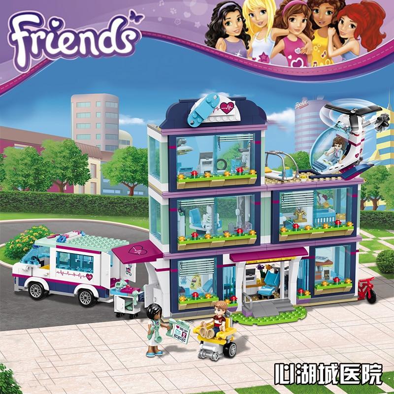 New 932pcs Heartlake City Park Love Hospital Girl Friends Building Block Compatible 41318 Friends Brick Toy