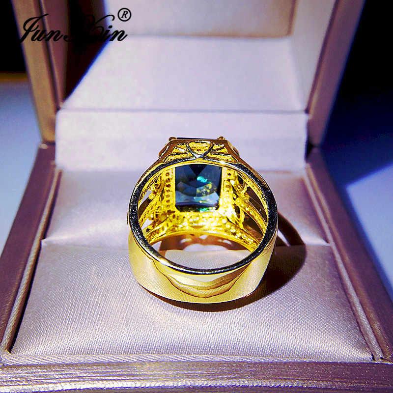 เรขาคณิตหรูหราคริสตัลสีเหลืองทองแหวนผู้ชายหินสีฟ้าจัดงานแต่งงานแหวนหมั้นแหวนสัญญาเครื่องประดับ CZ