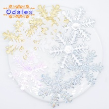 30Pcs 2.5inch Snowflake Patches Glitter BIG Appliqued for Christmas Decoration DIY Party Stickers Accessories