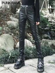 Панкрав темно-Черные Узкие повседневные брюки Панк тяжелые брюки женские леггинсы из искусственной кожи
