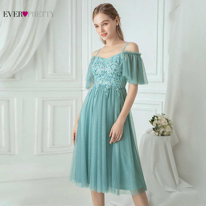Short Blue Bridesmaid Dresses Ever Pretty A-Line Spaghetti Straps Ruffles Sleeve Floral Appliques Wedding Party Gowns Vestidos