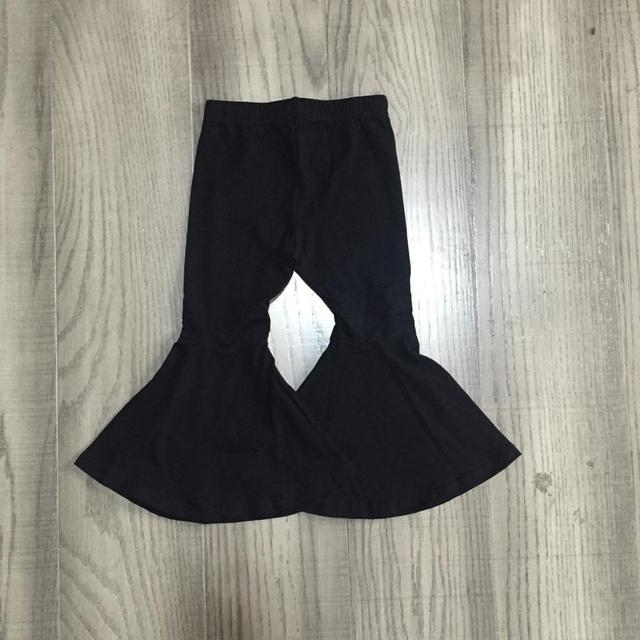 Girlymax fall/winter baby girls  children clothes cotton black wine mustard solid color ruffles bell-bottoms pants 3
