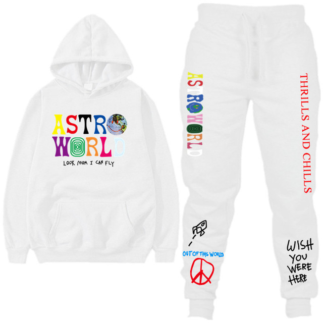 TRAVIS SCOTT ASTROWORLD hope You Are Here HOODIES Fashion Letters ASTROWORLD HOODIE Streetwear + Pants Mens Pullover Sweatshirt