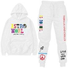 Travis scott astroworld espero que você esteja aqui hoodies moda letras astroworld moletom com capuz streetwear + calças moletom masculino