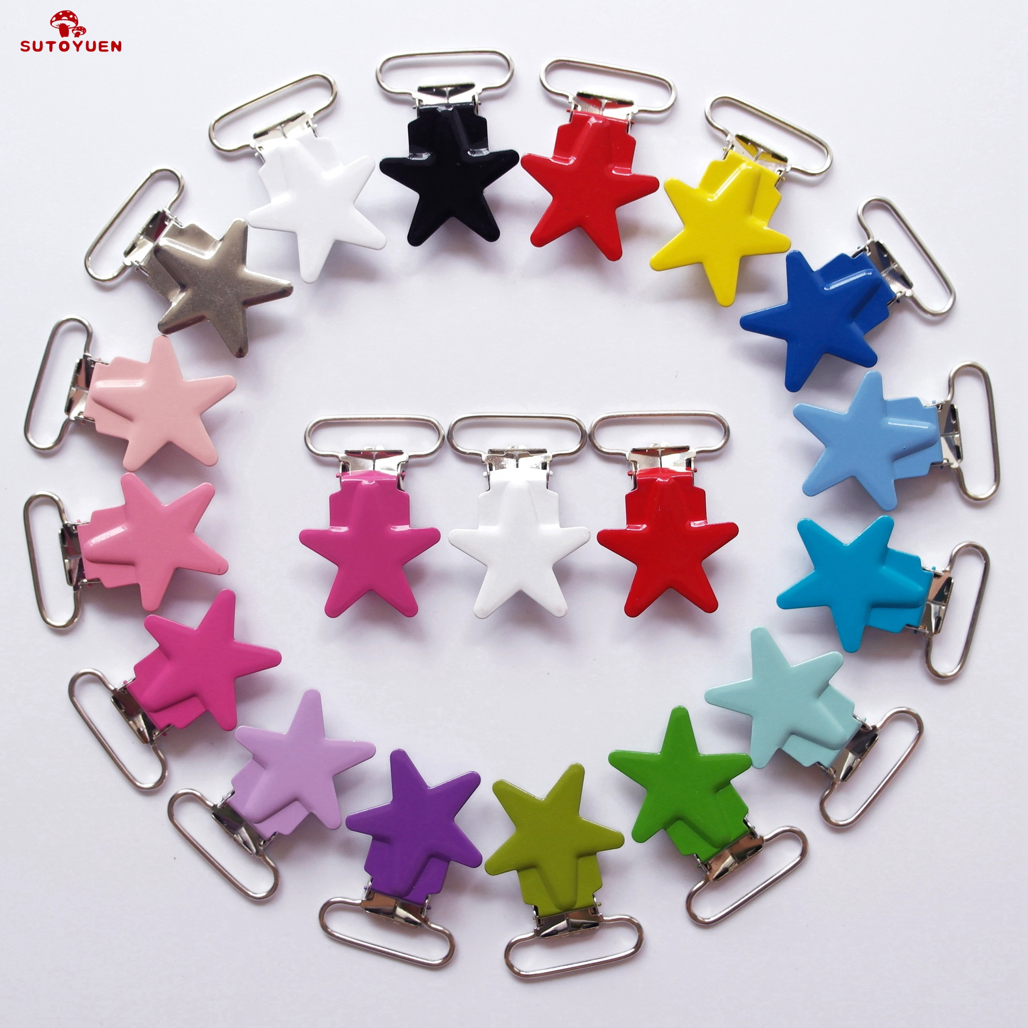 5Pcs Heart-shaped Metal Baby Pacifier Clips Holder Dummy Clip Bib Suspender Hook