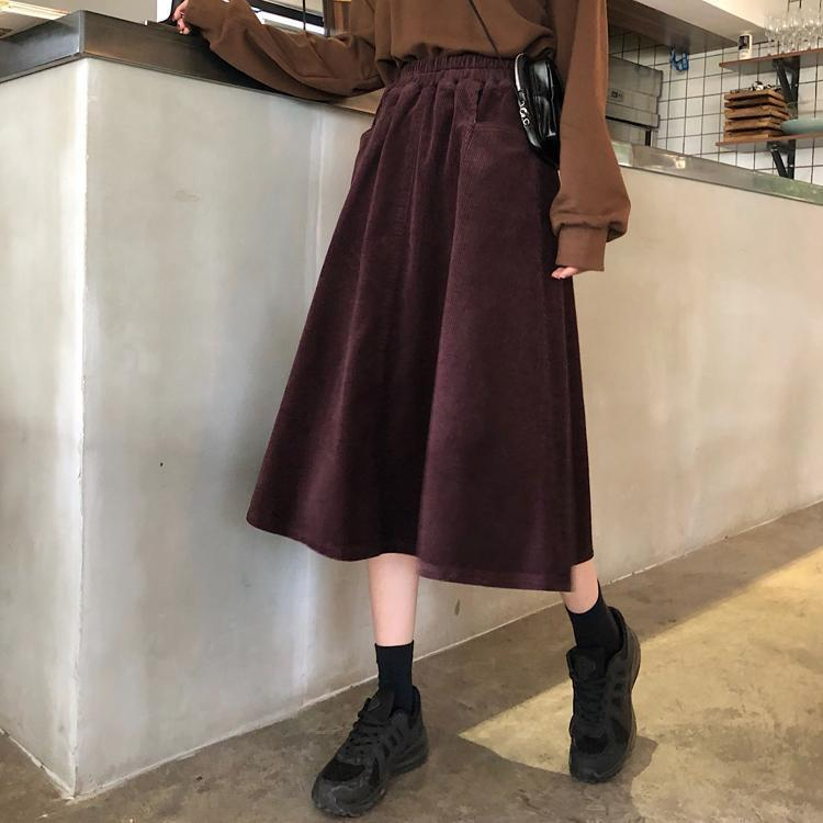 Uus Autumn And Winter Boutique Long Corduroy Full Skirt Versatile Medium-length Dress Skirt Semi-Elastic Waist New