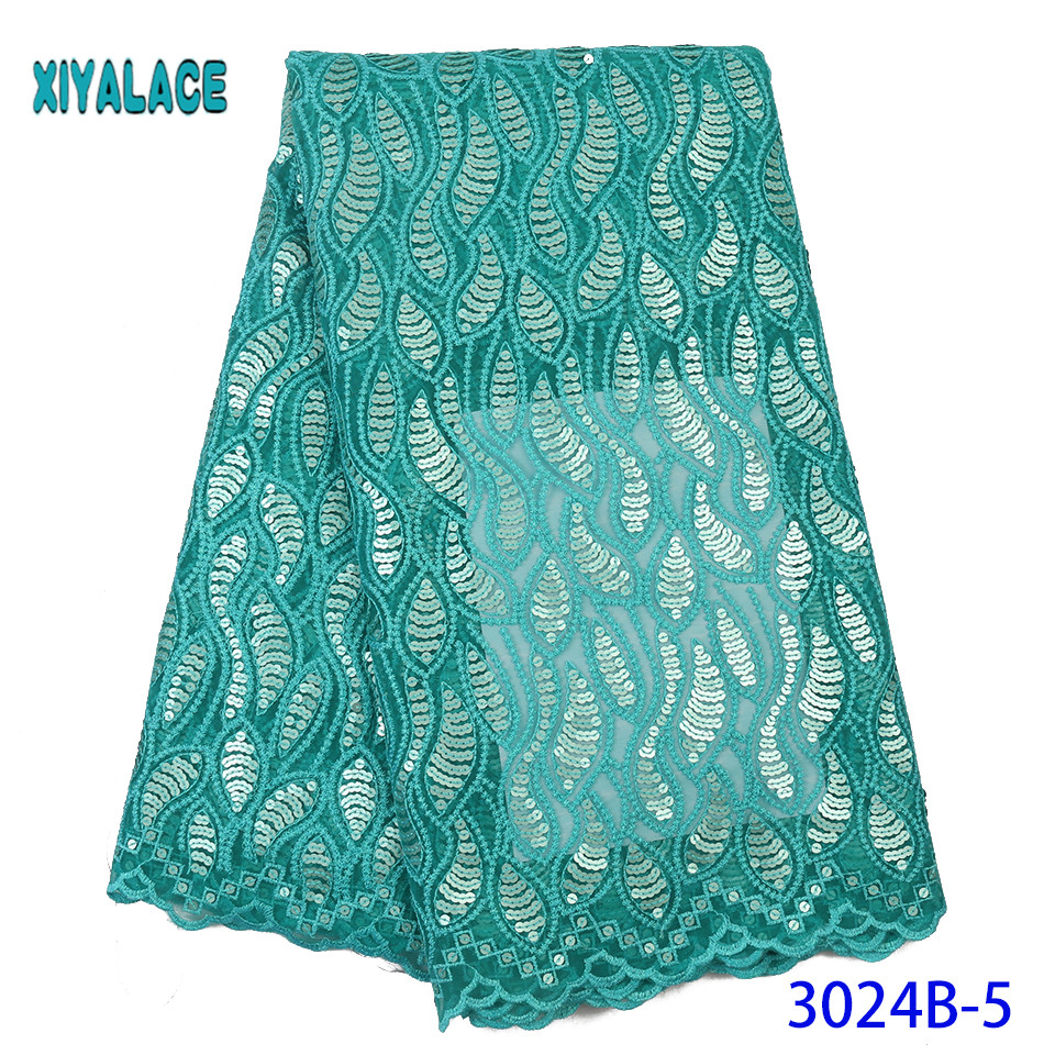 Nigerian Lace Fabric 2019 High Quality African French Lace Fabric Flower Embroidered Tulle Lace Fabric Sequins  YA3024B-5
