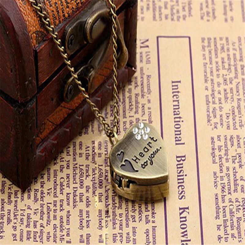 כיס שעון אהבת לב אליך כיסוי ברונזה שרשרת שרשרת שרשרת למשפחה שלך מאהב חברים Reloj de bolsillo saat