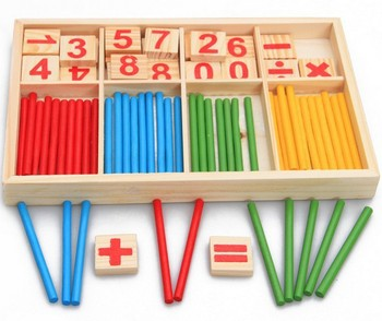 Wooden Math Toys Counting Sticks Teaching Aids Baby Early Educational Learning Number Math Open Mind Colorful Stick Toys montessori math toy wooden fruit number math game sticks educational toy puzzle learning teaching aids set child birthday gift