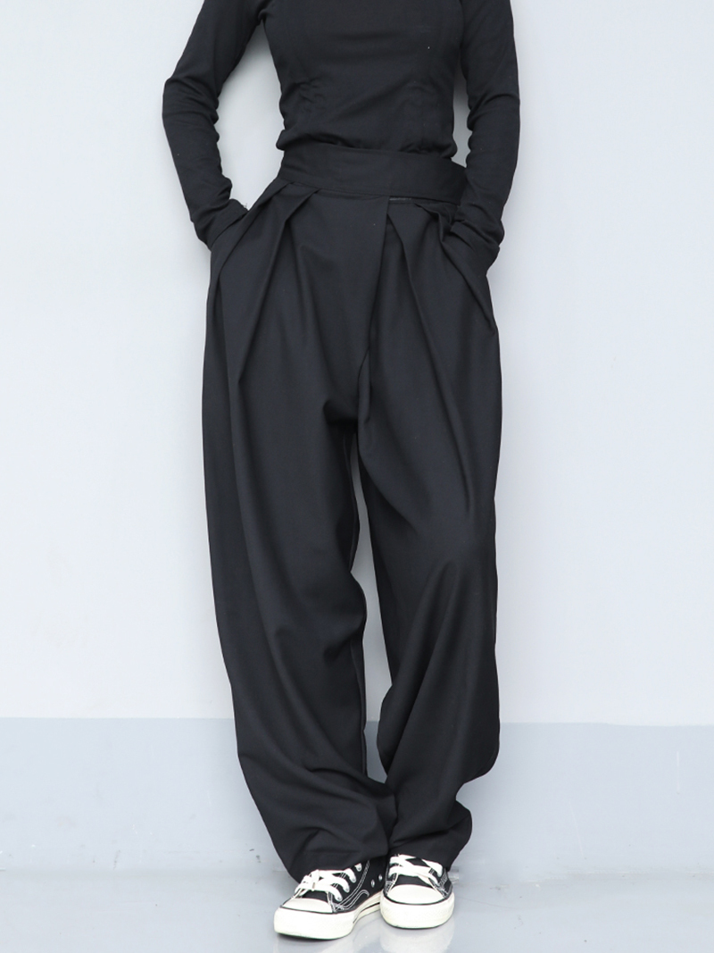 Top SaleLoose Leg-Trousers Fit-Pants Pleated Black High-Waist Fashion Women EAM Wide Brief Tide
