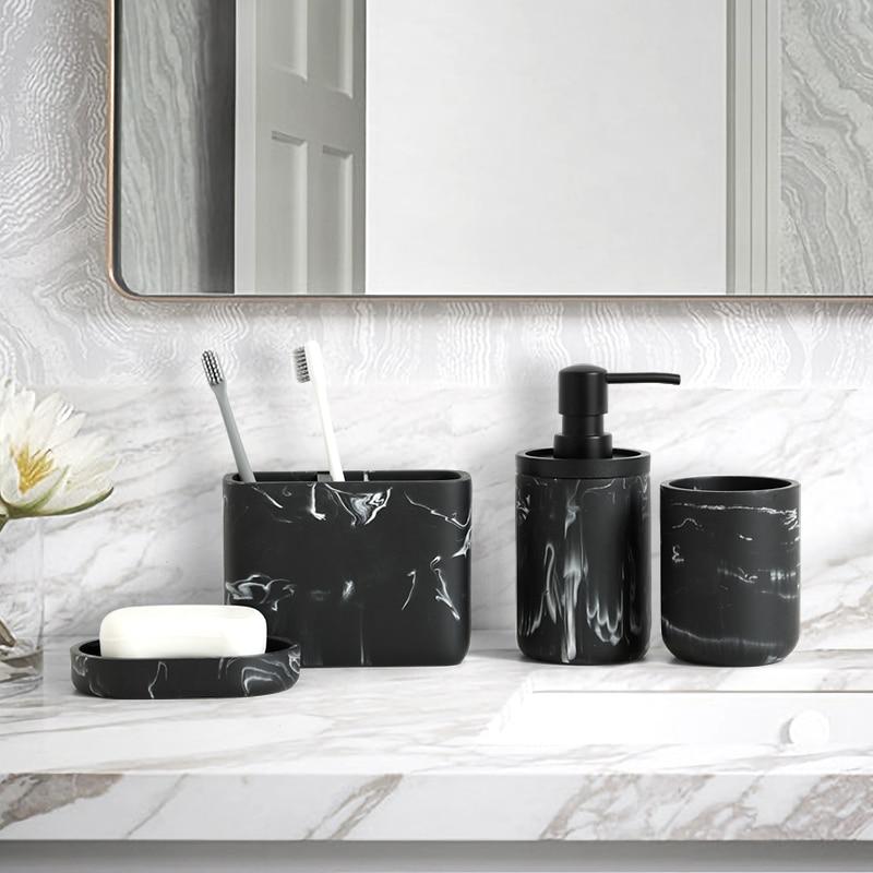 Resin Imitation marbling Bathroom Accessories Set Soap Dispenser Pump Bottle Toilet brush Soap Dish Toothbrush Holder cotton box