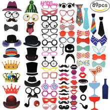 Photo Booth Props Party Masks Hat Mustache Lip Photobooth Wedding Decoration Birthday Favor Funny