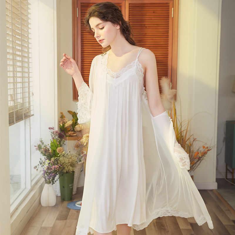 Palace nightdress Underwear Lace Dress Palace Exquisite Beauty Sexy Nightdress Long Lace Nightgown Women Sling Dress + Robe