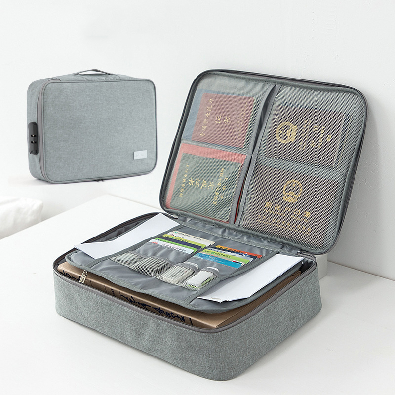 Household Document Storage Bag Multifunction Data Real Estate License Organizer Travel Waterproof Portables Suitcase Accessories