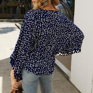 Image 4 - Simplee V neck bohemian button blouse shirt Women flare sleeve casual streetwear female blouse shirt Casual autumn tassel tops