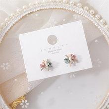 Женские серьги гвоздики с цветами shamir яркие ручной работы