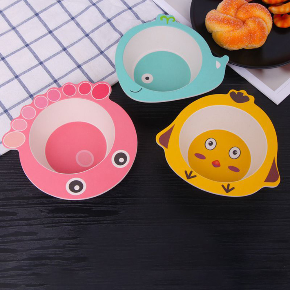Children Bowl Feeding Dishes Baby Plate Animal Creative Dinnerware Bamboo Fiber Children Plate Cartoon Dishesd Kids Tableware