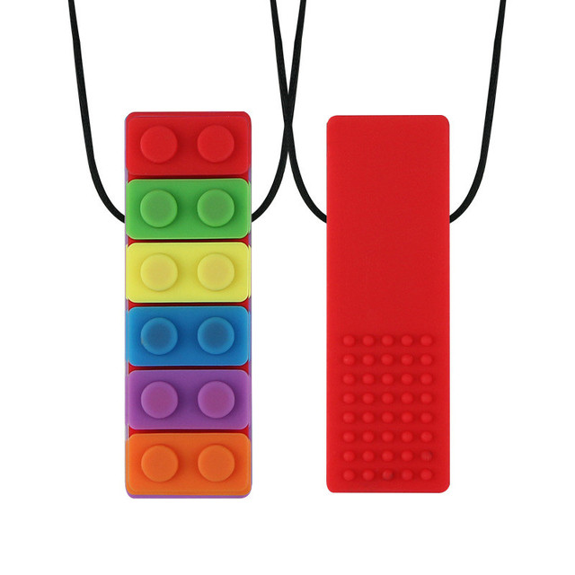New 1Pcs Baby Teether Rainbow Brick Chew Necklace Baby Silicone Teether Autism Sensory Chew Therapy Tools Kids Chewy Toys