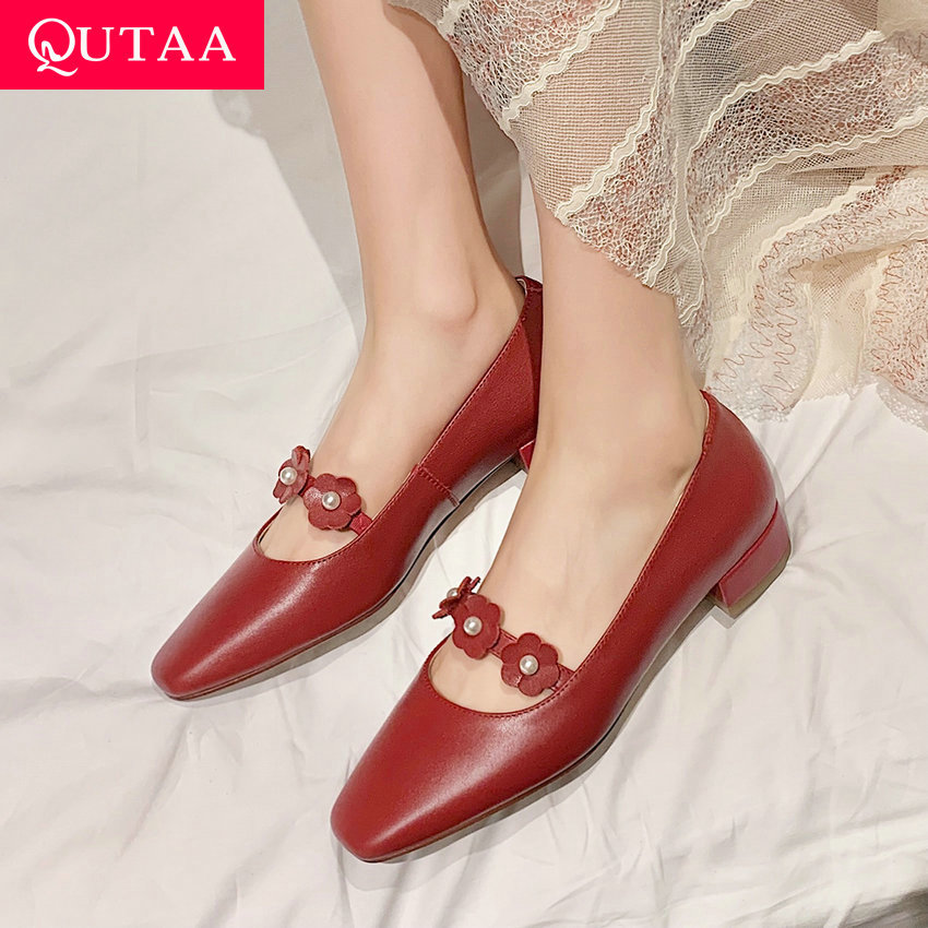QUTAA 2021 Flower Sweet Square Heels Spring Summer Basic Female Pumps Genuine Leather Square Toe Women Shoes Size 34-40
