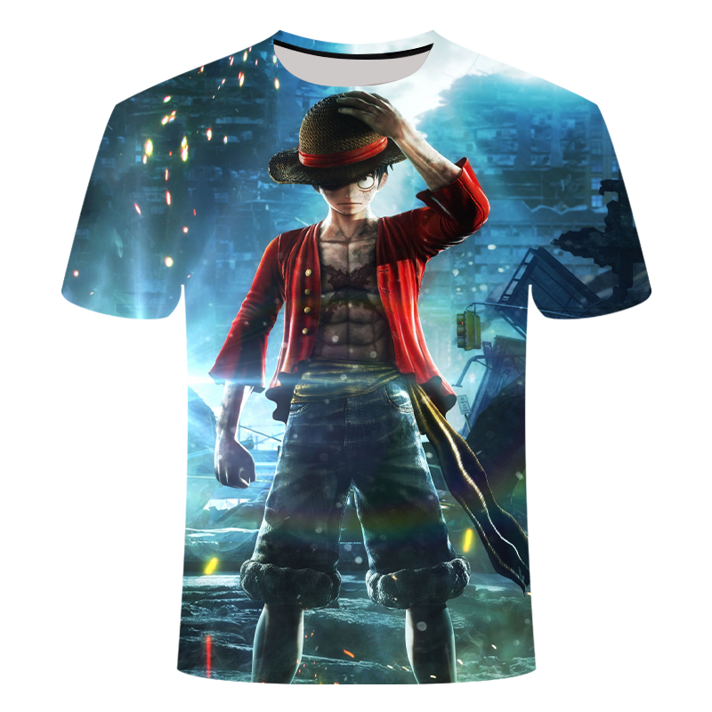 One Piece Luffy T Shirt Casual Tshirt Homme O-neck Streetwear Blood Teenager T-shirt Mens Clothes Anime Summer Tops Tees