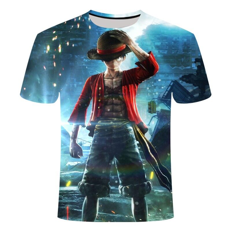 T-shirt une pièce Luffy t-shirt décontracté homme col rond streetwear sang adolescent t-shirt hommes vêtements anime été hauts t-shirts