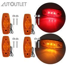 Autoutlet 4 pces 12v/24v conduziu luzes de marcador laterais para o caminhão de reboque do carro caminhão van branco/amarelo/vermelho cor luz da lâmpada