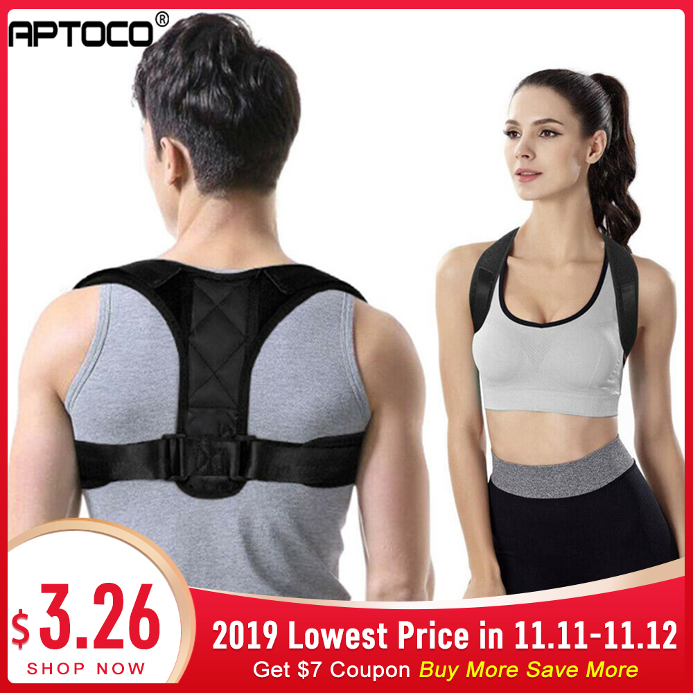 Aptoco Spine Posture Corrector Protection Back Shoulder Posture Correction Band Humpback Back Pain Relief Corrector Dropshipping