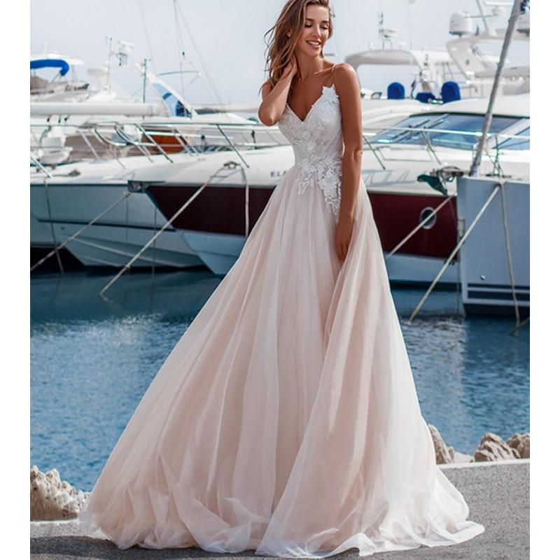 Beach Wedding Dress 2019 Elegant Spaghetti Straps A Line Backless Tulle Appliques Bridal Gown For Bride Vestido De Noiva