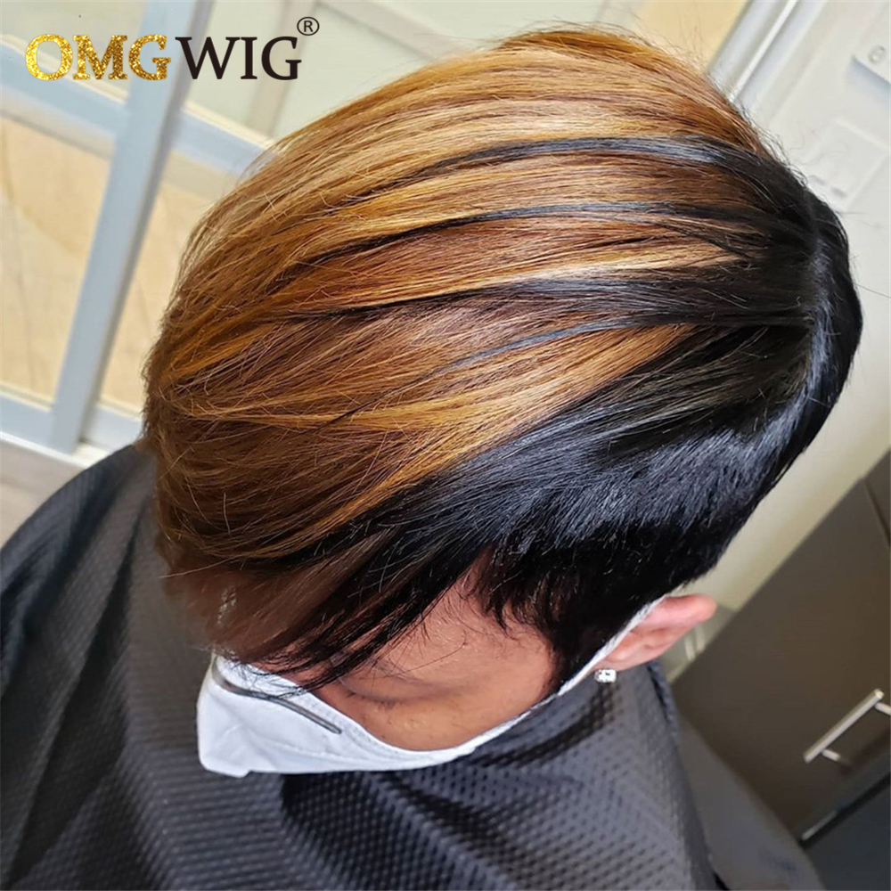 Short Honey Blonde Ombre Color Bob Pixie Cut Straight Non Lace Front Human Hair Omg Wig With Bangs For Black Women Brazilian Full Machine Wigs Aliexpress