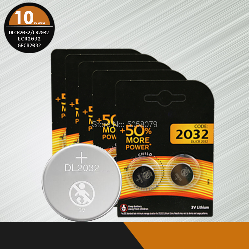 10pcs brand new <font><b>battery</b></font> for DURACELL DLCR2032 <font><b>CR2032</b></font> ECR2032 GPCR2032 3v button cell coin <font><b>batteries</b></font> for watch computer image
