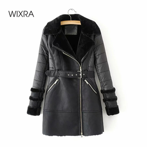 Wixra New Fashion Faux Leather Jackets With Sashes Lady Thick Warm Coats With Fur Autumn Winter Pockets PU Street Long Coats