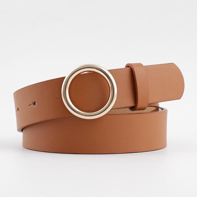 2020 New Designer Women's Gold Round Circle Buckle Belt Strap Pasek Damski Wide Black White Brown Leather Belts For Women Jeans