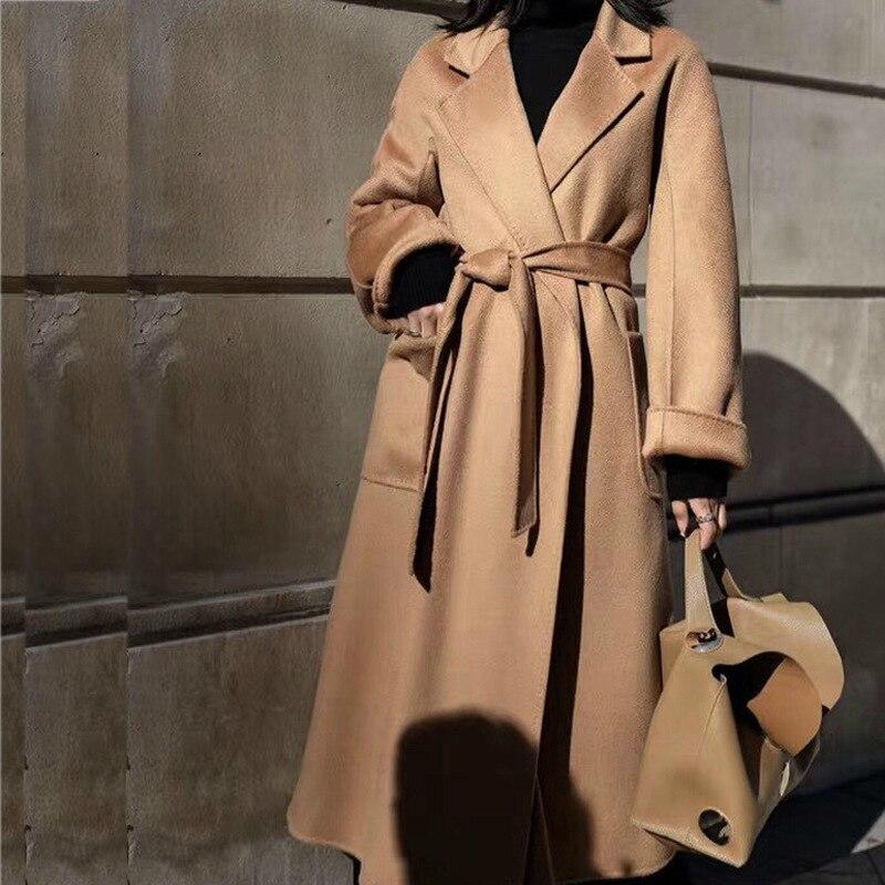 Зимнее корейское популярное высококачественное шерстяное пальто из гофрированной ткани 2019, модный длинный халат, стиль 100%, шерстяная куртк...