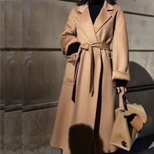 100%Wool-Jacket Overcoat Woolen Water Korean Long Winter Fashion Popular High-End Bathrobe-Style