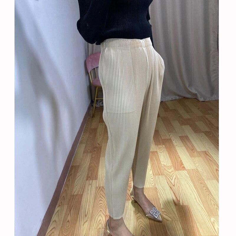 Plus Größe Hosen Für Frauen Herbst Neue Elastische Miyake falten Dick Einfarbig Casual Bleistift Hosen Knöchel Länge - 6