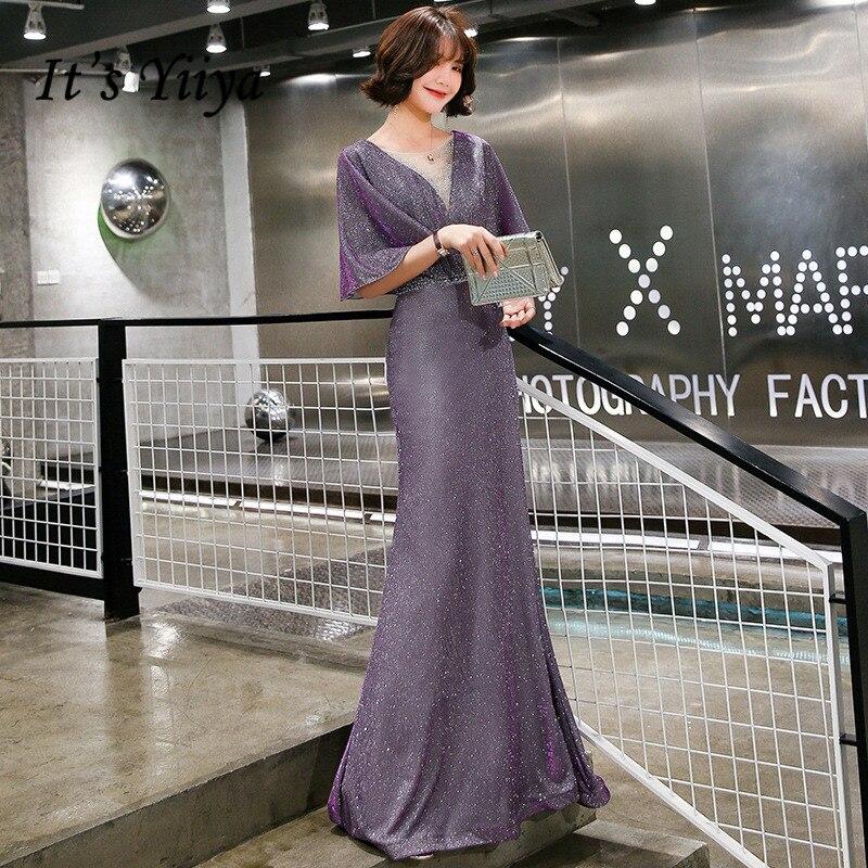 It's Yiiya Purple Mermaid Evening Dress O-neck Elegant Formal Dresses Half Sleeve Vestido De Festa Shiny Robe De Soiree K199