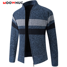 Coat Cardigan Sweaters Spring Long-Sleeves Male Thick Men's Striped Fashion Autumn Slim