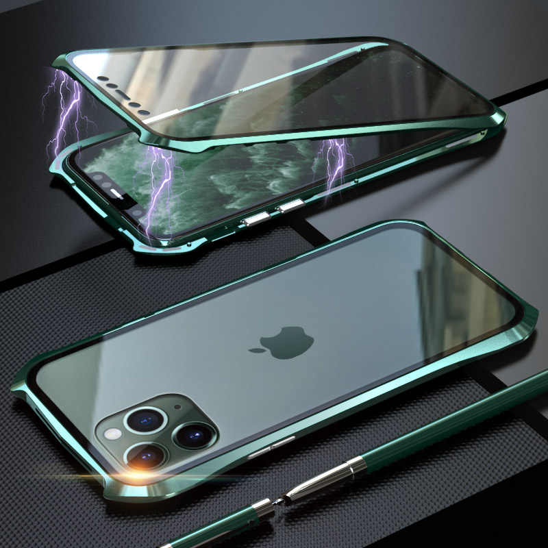 BATMAN Metal Frame Magnetic Case For iPhone 11 Pro Max Case Double Tempered Glass Anti-knock Cover for iPhone 11 Pro Max Shell