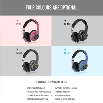 1000mAh battery wireless headset 20H Playtime Bluetooth Headphone Foldable LED Light 3D stereo gaming Earphone 6 equalizer modes 6