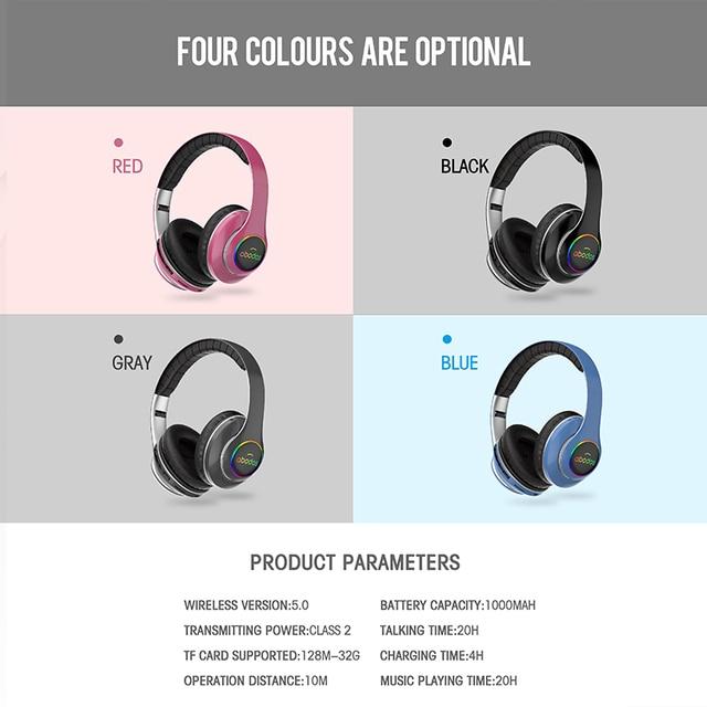 wireless headset 20H Playtime- Bluetooth Headphone Foldable LED Light 3D stereo gaming Earphone  6