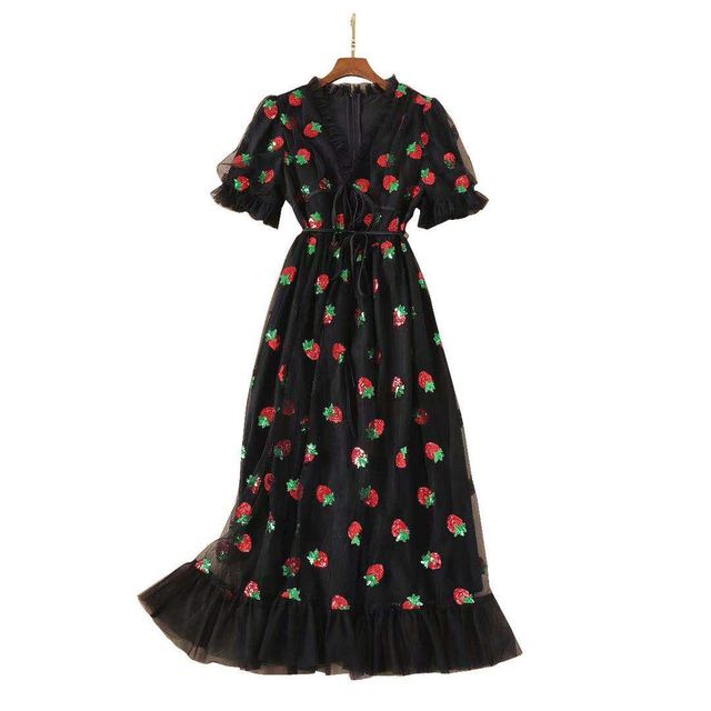 Stock 2021 Strawberry Dress Women Fashion Deep V Pleated Puff Sleeve Sweet Voile Mesh Sequins Embroidery French Party Dresses 6