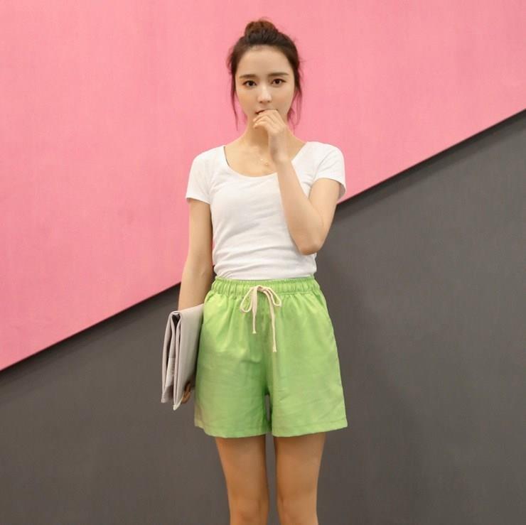 8 Color Linen Shorts 2019 Women Summer High Waist Shorts Casual Loose Plus Size Drawstring Pockets Womens Shorts Feminino S-XXL