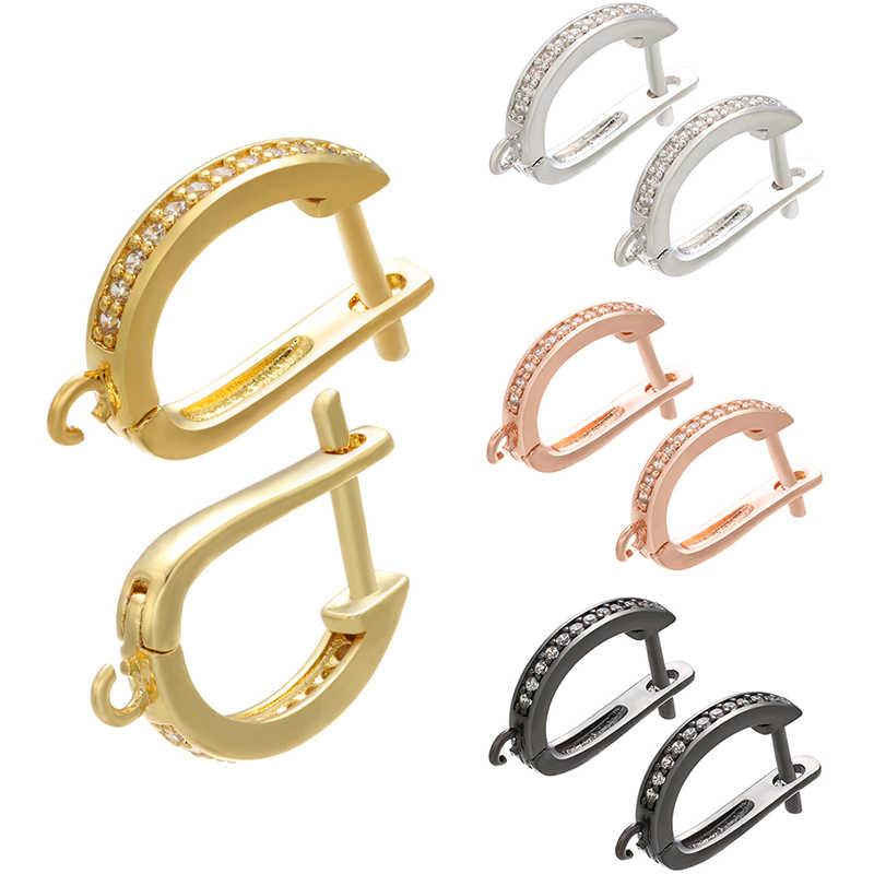 ZHUKOU In Ottone Oro/Argento di colore Dell'orecchino dei Ganci Accessori Di Cristallo della vite prigioniera orecchini gancio per Orecchini fatti a mano Monili Che Fanno VE94