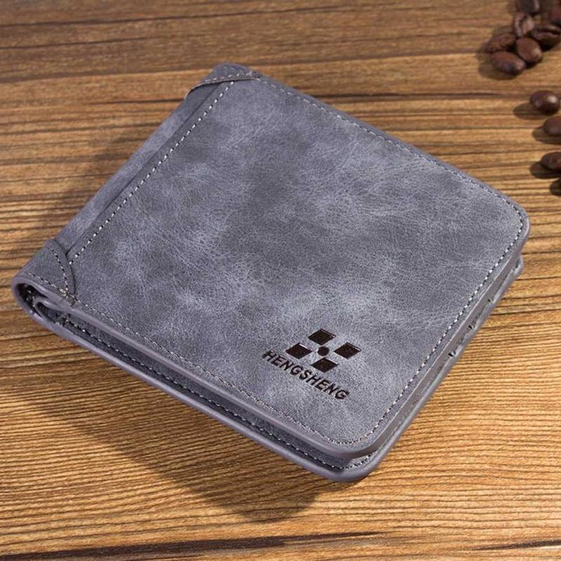Men Wallet Leather ID Credit Card Holder Clutch Coin Purse Luxury Brand Wallet Frosted Short Wallets 2019 Men Wallet Coin Pocket 1
