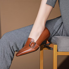 HOT sale Women Pumps natural leather 22-4.5cm Ladies Shoes Spring and Autumn Cowhide metal buckle high heels retro classic