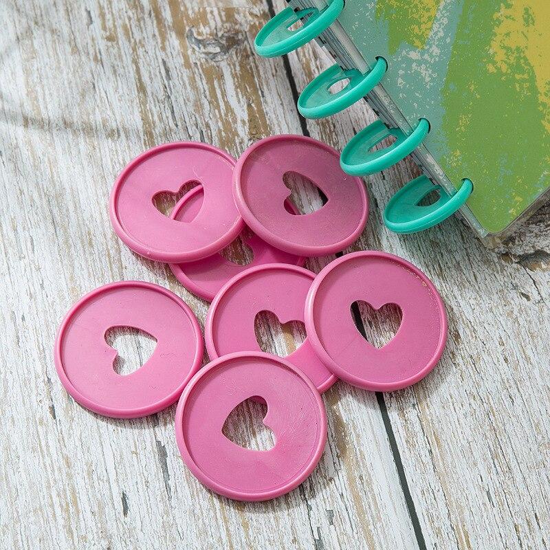 100PCS Colorful Heart Binder Rings Mushroom Hole Loose Leaf Ring Round Binding Plastic Disc Buckle Hoop DIY Binder Notebook
